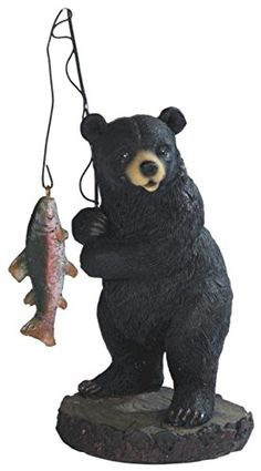 StealStreet SSG54267 Black Bear Fishing on Black Rock Figurine 7 >>> Check out the image by visiting the link.