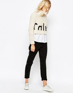 Calvin Klein Cropped High Neck Jumper With Front Logo