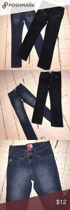 Girls jeans size 8 2 pair girls The Children's Place jeans . One pair super skinny the darker pair is just skinny . Both size 8 with adjustable waist. used good condition The Children's Place Bottoms Jeans