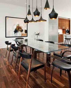"""Masculine kitchen and dining room"" and check out the modern light fittings over the dining room table. How stunning is this artwork? Interior Design, Masculine Kitchen, Interior, Rectangular Dining Room Table, Kitchen Design, Open Kitchen And Living Room, Home Decor, Dining Room Inspiration, Dining Room Table"