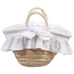 Girls Straw Bag with Broderie Anglaise Fill, Patachou, Girl