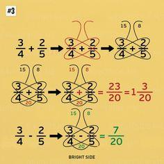 Nine simple math tricks you'll wish you had always known - Schmetterlingsmethode bei Add/Sub von Brüchen Nine simple math tricks you'll wish you had always - Math Strategies, Math Resources, Math Activities, Math For Kids, Fun Math, Math Formulas, Simple Math, Easy Math, Math Help