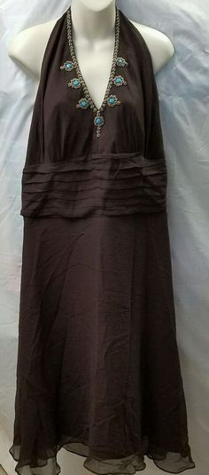 SIGNATURE by ROBBIE BEE 100 % Silk Brown Dress Tuorquoise Beading Size 18 W #RobbieBee #Sundress