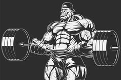 Bodybuilder with barbell Graphics Vector illustration, bodybuilder doing exercise with barbell for biceps.Vector graphics Install an by
