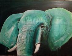 Green elephant, abstract, acrylic, Africa