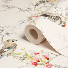 Statement Ornithology Birds Metallic Wallpaper - B&Q for all your home and garden supplies and advice on all the latest DIY trends 4 Wallpaper, Metallic Wallpaper, Trendy Wallpaper, Bathroom Wallpaper, Bathroom Art, Blue Wallpapers, Pattern Wallpaper, Bird Wallpaper Bedroom, Vintage Bird Wallpaper