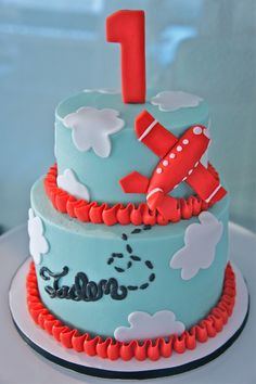 Airplane Cake :) by Half Baked Co. Harry Birthday, 2 Birthday Cake, Birthday Ideas, Cake Cookies, Cupcake Cakes, Ice Cake, Just Cakes, Cake Pictures, Fancy Cakes