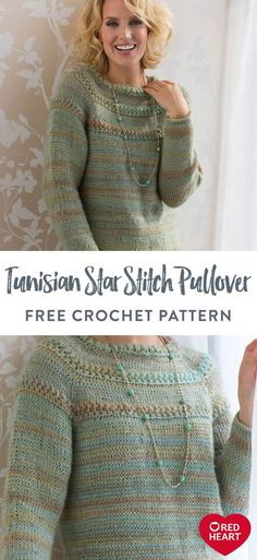 Yarnspirations is the spot to find countless free intermediate crochet patterns, including the Red Heart Tunisian Star Stitch Pullover. Browse our large free collection of patterns & get crafting today! Crochet Cardigan Pattern Free Women, Crochet Sweater Design, Crochet Designs, Free Crochet, Tunisian Crochet Patterns, Knitting Patterns, Knitting Tutorials, Lace Patterns, Crochet Granny