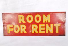 "Vintage Original Tin Metal ""Room For Rent"" Reflective Sign Bevel Edge!"