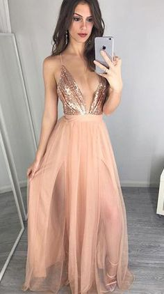 FYD Hot Prom Dress Evening Dress Deep V-neck Sequins Top Backless Long Pink Prom Dresses Evening Dresses Prom Gown sold by Friday Dresses. Shop more products from Friday Dresses on Storenvy, the home of independent small businesses all over the world. Peach Prom Dresses, V Neck Prom Dresses, Prom Dresses 2017, Cheap Evening Dresses, Tulle Prom Dress, Cheap Prom Dresses, Sexy Dresses, Formal Dresses, Party Dresses