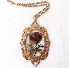 Ornate Real Pressed Flower Necklace with by flowersfadejewelry