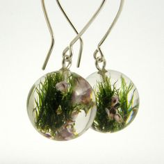Moss and Heather Round Earrings Forest Jewelry with by sisicata, $30.00