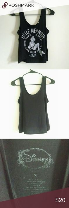 Disney Official the Little Mermaid black crop tank Disney official! Gently worn! Super cute on! No flaws! The Little mermaid Disney Tops Crop Tops