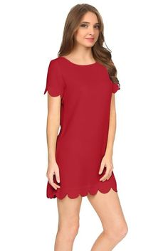 Simlu Womens Scalloped Hem Sleeveless Dress Mini Shift Dress
