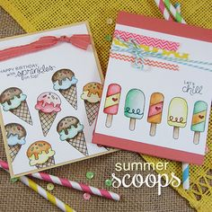 Ice Cream Cards by Jennifer Jackson   Summer Scoops Stamp set by Newton's Nook Designs