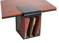 Onyx Mesh Solid Top Vertical Hanging Desk Storage