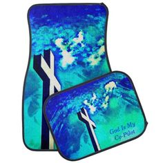 Holy Cross Sapphire Blue N Aqua/Co-Pilot Car Mats - click/tap to personalize and buy #gifts #turquoise #aqua #blues #sapphire #Holycross #godismycopilot #cross #christiangifts #christian #catholicgifts #caraccessories #CarAccessory #forthecars #automotiveart