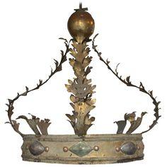 A vast 18th century Italian gilded iron and giltwood corona (122 cms high x 84cms diameter), with Kate Thurlow.