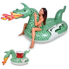 GoFloats Giant Inflatable Fire Dragon Includes Bonus Fire Dragon Drink - The Home Depot Lego Dragon, Fire Dragon, Giant Inflatable Pool Floats, Water Sports Store, Pool Floats For Adults, Inflatable Furniture, Weird Furniture, Flamingo Pool, Dragon Scale