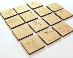 Wood Toy Fruit Matching Game, mini memory tile kids toy