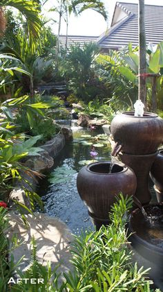 This tropical garden is a unique combination of natural materials and planting. The waterfall instantly creates a relaxed environment//I'd love a garden like this one day, or some how to interpret this feel into a room Tropical Backyard, Tropical Landscaping, Tropical Plants, Balinese Garden, Asian Garden, Easy Garden, Zen Garden Design, Landscape Design Plans, Water Features In The Garden