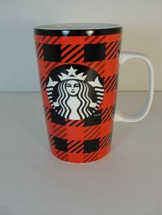 Starbucks Holiday Mug Plaid Red Black 2014 Red Coffee NEW