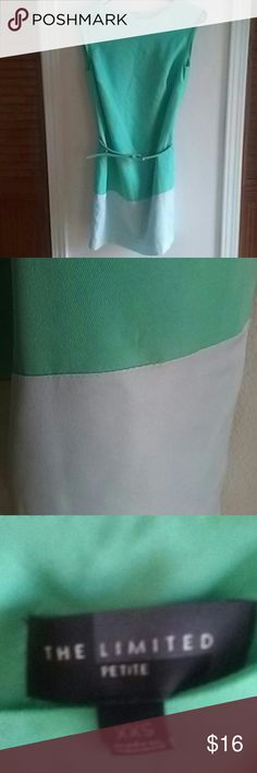 THE LIMITED BELTED SHIFT DRESS XXS Beautiful shift dress with belt. Green color block pattern with exposed zipper in the back. Fully lined. This is a repost - sadly the dress is a bit too short for me :( The Limited Dresses
