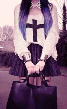Mix up your dark, moody blacks with religious iconography. | How To Be A Pastel Goth