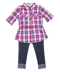 Pink & White Plaid Belted Button-Up & Denim Leggings - Infant #zulily #zulilyfinds