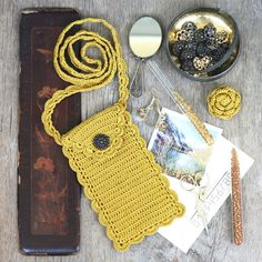 Mustard phone case with long crossbody by 100crochetnecklaces