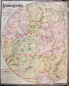 Map-of-the-Adirondack-Wilderness-Giclee Print of an 1895 Map.