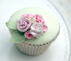 Immensely beautiful, softly hued Rose Cluster Cupcake. #pastel #mint #green #cupcake #food #dessert #pink #rose #flowers #decorated #baking #wedding