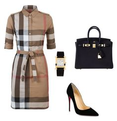 Untitled #432 by nadiralorencia on Polyvore featuring polyvore mode style Burberry Christian Louboutin Hermès fashion clothing