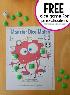 Looking for a preschool math game?  We love this monster dice game.  Get four free game boards!