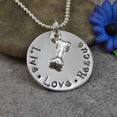 Hand Stamped Jewelry - Pet Jewelry - Live Love Rescue - Personalized Jewelry by DesignsbyDaniella