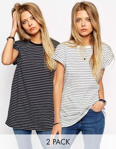 Image 1 ofASOS The Easy T-Shirt in Stripe 2 Pack Save 15%