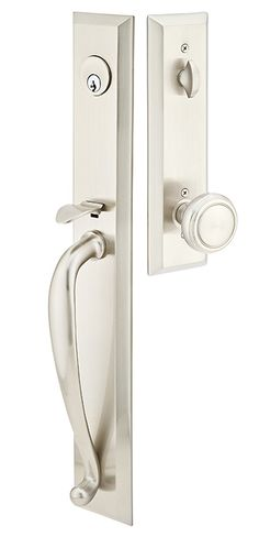 Merveilleux Emtek 4425 Jefferson Series Double Cylinder Keyed Entry Handleset From The  Ameri Satin Nickel Handleset Keyed Entry Double Cylinder