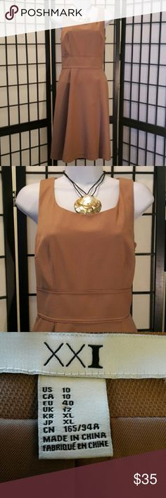 *NWOT* XXI Tan Career Dress Gorgeous, Never Worn, Flare, A-Line, Sleeveless, Fully Lined, Side Zipper Thanks for sharing my closet, I will show Posh love by doing the same. XXI Dresses