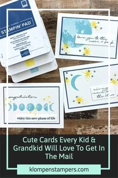 Make a card to encourage a kid or grandchild! These cute cards only took me 15 minutes to make 6 cards. Grab a pack of blank note cards and envelopes and save yourself some time. I've got the card making tutorial for you on the blog with a video tutorial too. Enjoy this idea? Save it to your favorite board. Card Making Tips, Card Making Tutorials, Ink Pads, Kids Cards, Cute Cards, Grandkids, Envelopes, Save Yourself, Stampin Up