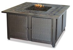 Uniflame Corporation Gas Firebowl With Slate Tile Mantel Fireplace #UniflameCorporation #FirePitTable