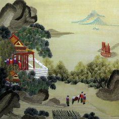 King Silk Art 100% Handmade Embroidery Beautiful Quiet Rural Village Mountain Farmers Climbing Scenery Chinese Print Framed Landscape Architecture Painting Oriental Gift Asian Wall Art D¨¦cor Artwork Tapestry Hanging Picture Gallery 37005BFB1