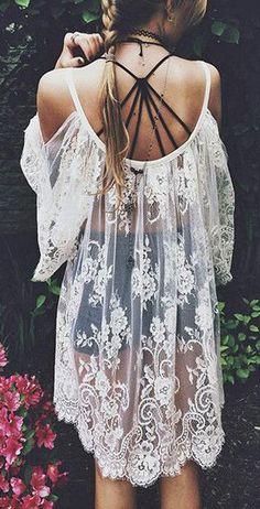 Gypsy Boho Lace Dress - Gorgeous White Sheer Dress