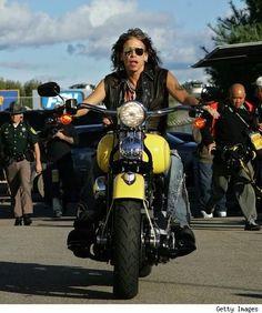 Steven Tyler on a Harley.