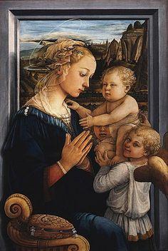 Virgen con Niño y dos ángeles. Fra Filippo Lippi, 1457/8-1504.