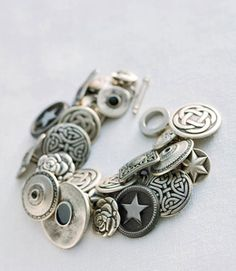 Button jewelry is perfect for beginners. This design is a twist on the classic charm bracelet.
