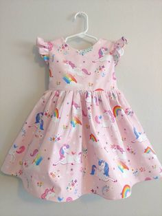 Unicorn dress for girls, unicorn dress, unicorn baby dress, rainbow unicorn dress, long sleeved unicorn dress - - Unicorn Dress Toddler, Dinosaur Dress, Toddler Dress, Unicorn Dress Girls, Frocks For Girls, Dresses Kids Girl, Kids Outfits Girls, Girl Outfits, Baby Girl Dress Patterns