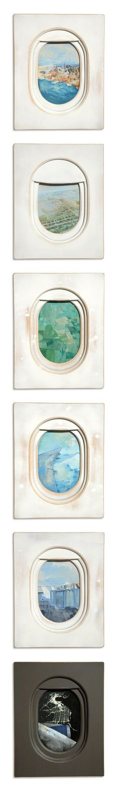 Airplane Window paintings by Jim Darling. Aerial views of landscapes from airplane windows.