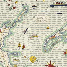 Ralph Lauren   Home OUT TO SEA MAP – FOGGED IN Wallpaper Perfect for C's bedroom