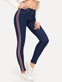 Product name: Tuxedo Stripe Stitch Detail Jeggings at SHEIN, Category: Jeans SHEIN offers Tuxedo Stripe Stitch Detail Jeggings & more to fit your fashionable needs. Cropped Denim Jacket, Denim Overalls, Ripped Denim, Denim Outfit, Skinny Jeans, Women's Jeans, Stylish Outfits, Cute Outfits, Fashion Outfits
