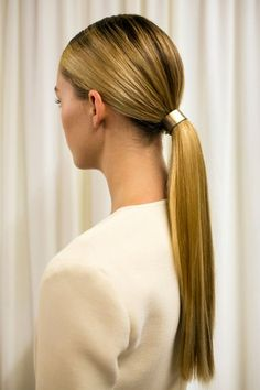 Wes Gordon's Sleek Ponytails Ponytails are the best when you've hit snooze one too many times and have to get ready in a snap. Just make sure yours is tight and sleek, like the ones at Wes Gordon, so it looks deliberate. Bonus points for adding chic metal hardware around your elastic.